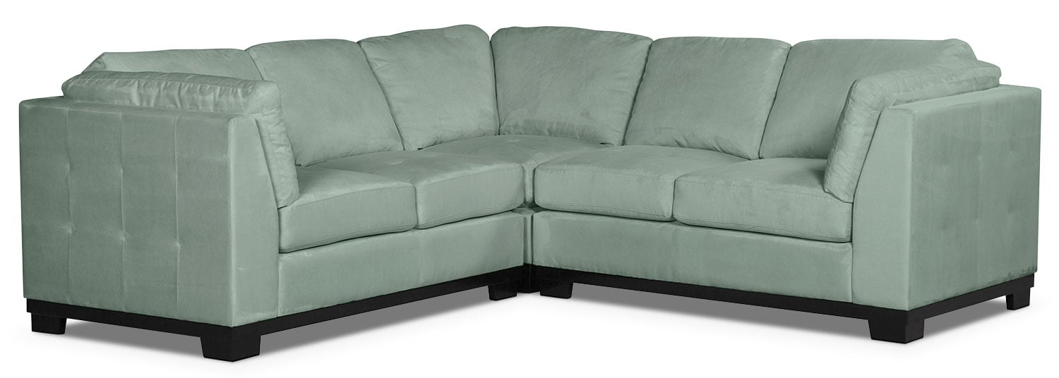 Living Room Furniture - Oakdale 3-Piece Microsuede Living Room Sectional – Aqua