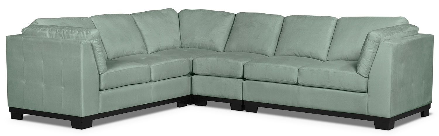 Living Room Furniture - Oakdale 4-Piece Microsuede Sectional – Aqua
