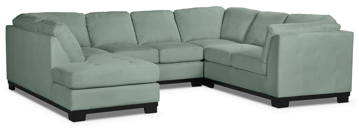 Living Room Furniture - Oakdale 4-Piece Microsuede Left-Facing Sectional – Aqua