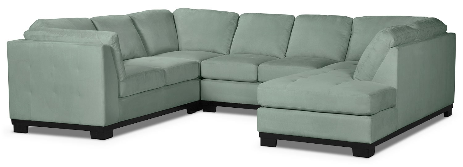 Living Room Furniture - Oakdale 4-Piece Microsuede Right-Facing Sectional – Aqua