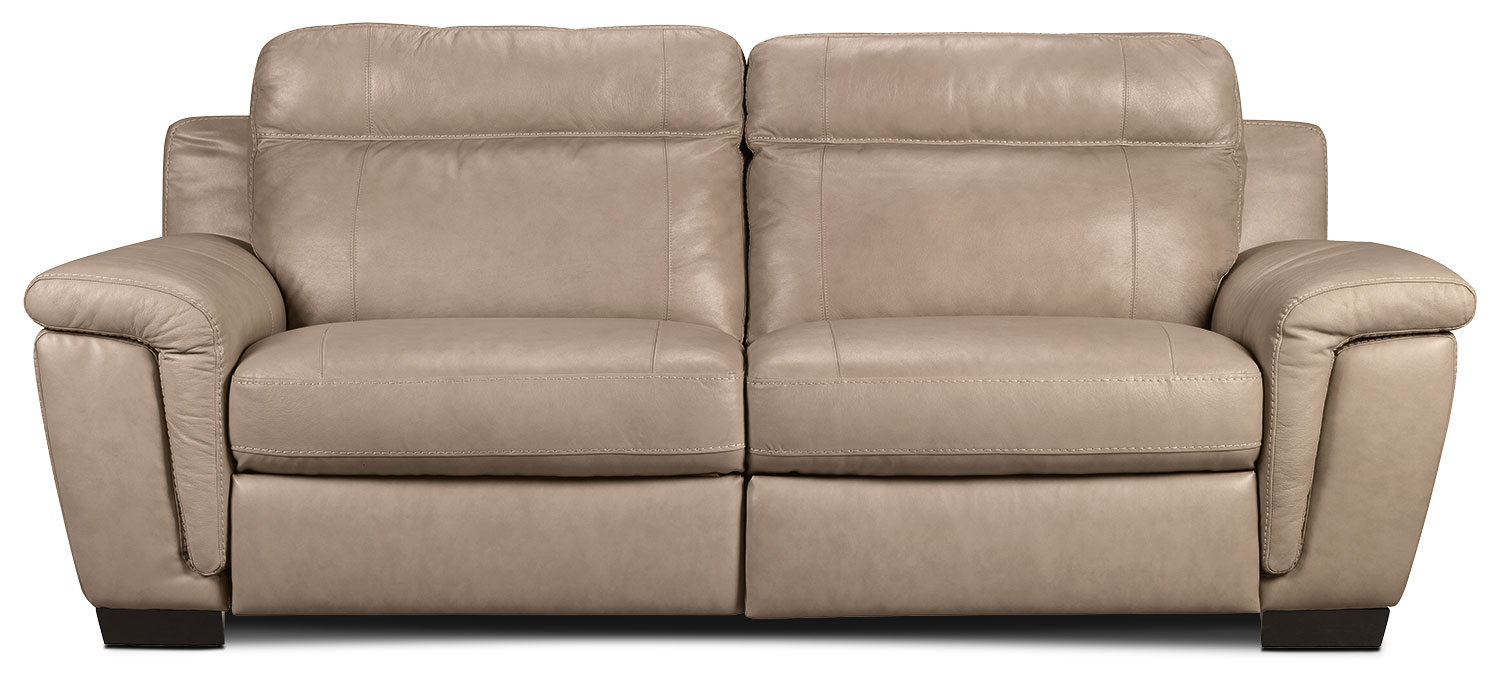 Living Room Furniture - Seth Genuine Leather Power Reclining Sofa - Rope