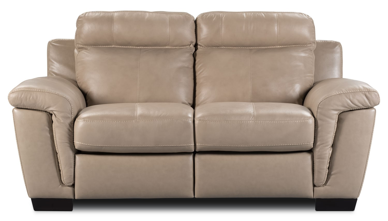 Living Room Furniture - Seth Genuine Leather Loveseat - Rope