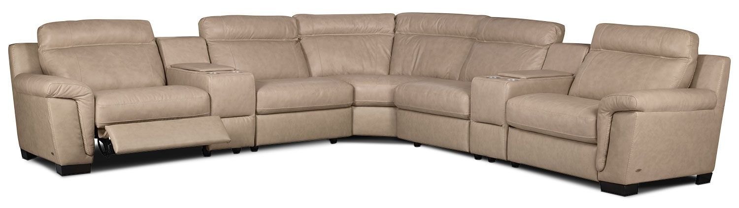 Living Room Furniture - Seth Genuine Leather 7-Piece Power Reclining Sectional – Rope