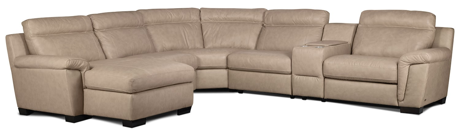Living Room Furniture - Seth Genuine Leather 6-Piece Sectional with Console and Left-Facing Chaise - Rope
