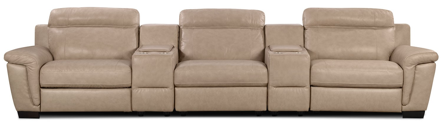 Living Room Furniture - Seth Genuine Leather 5-Piece Sectional with Two Consoles - Rope