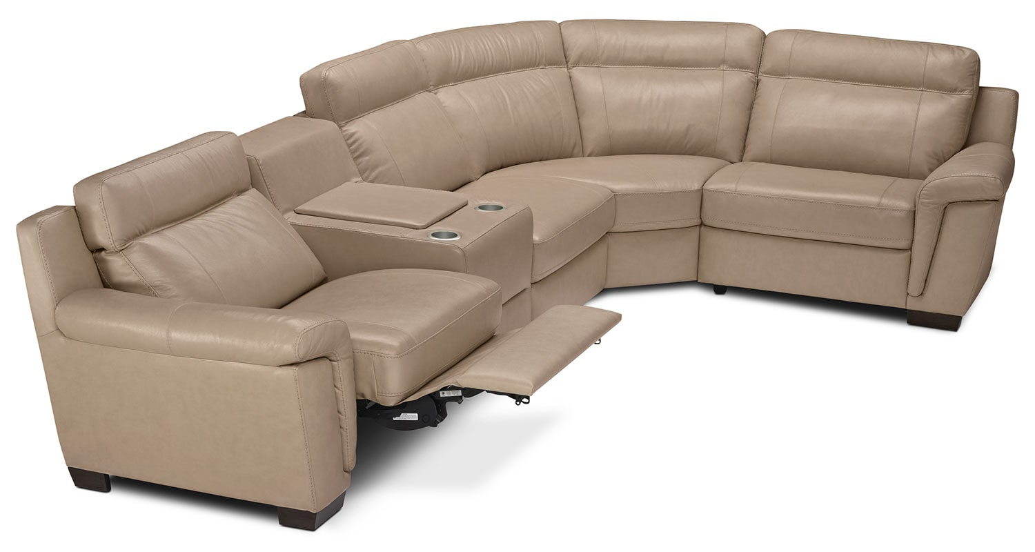 Living Room Furniture - Seth Genuine Leather 5-Piece Power Reclining Sectional - Rope