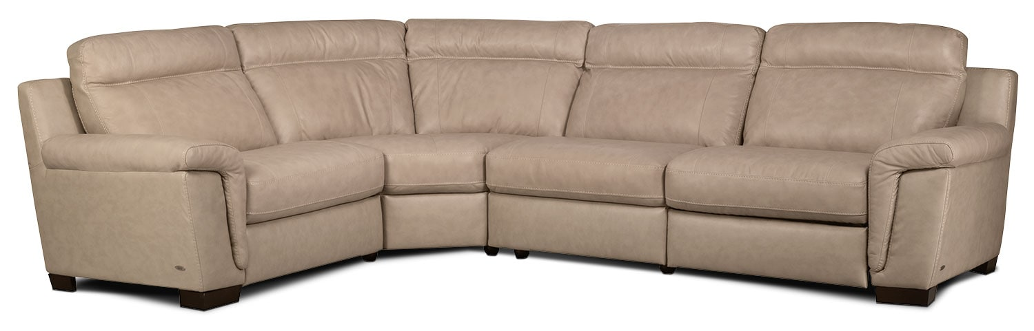 Living Room Furniture - Seth 4-Piece Genuine Leather Power Reclining Sectional – Rope