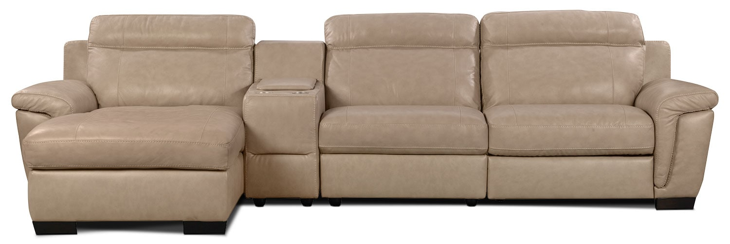 Living Room Furniture - Seth Genuine Leather 4-Piece Sectional with Console - Rope