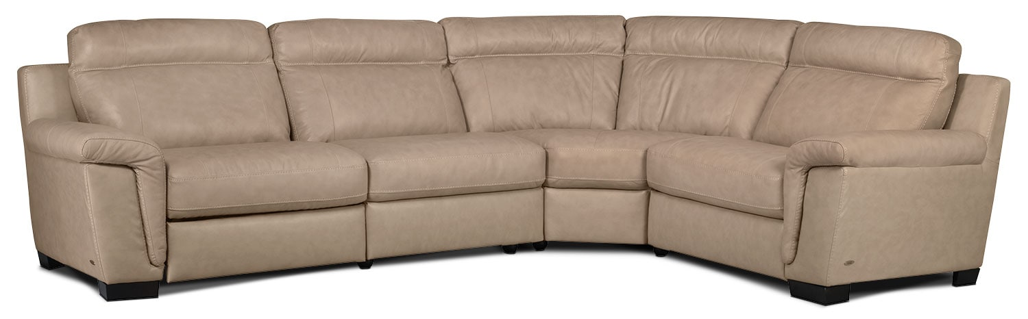 Living Room Furniture - Seth Genuine Leather 4-Piece Power Reclining Sectional - Rope