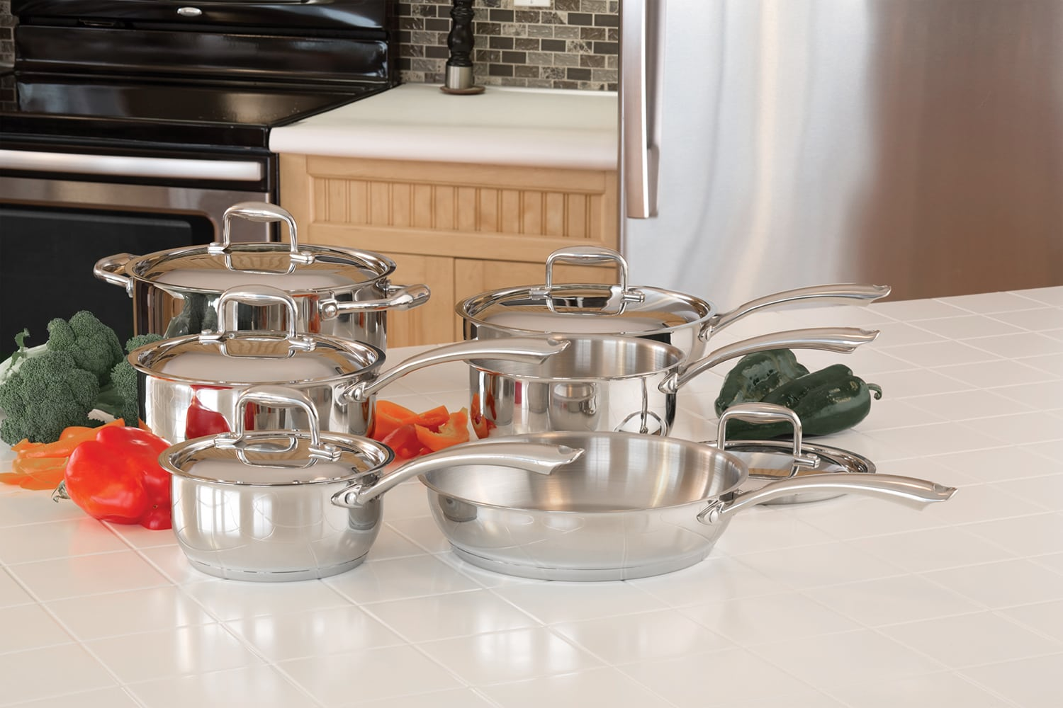 Cooking Products - Paderno Steel Eternity 11-Piece Cookware Set - Stainless Steel