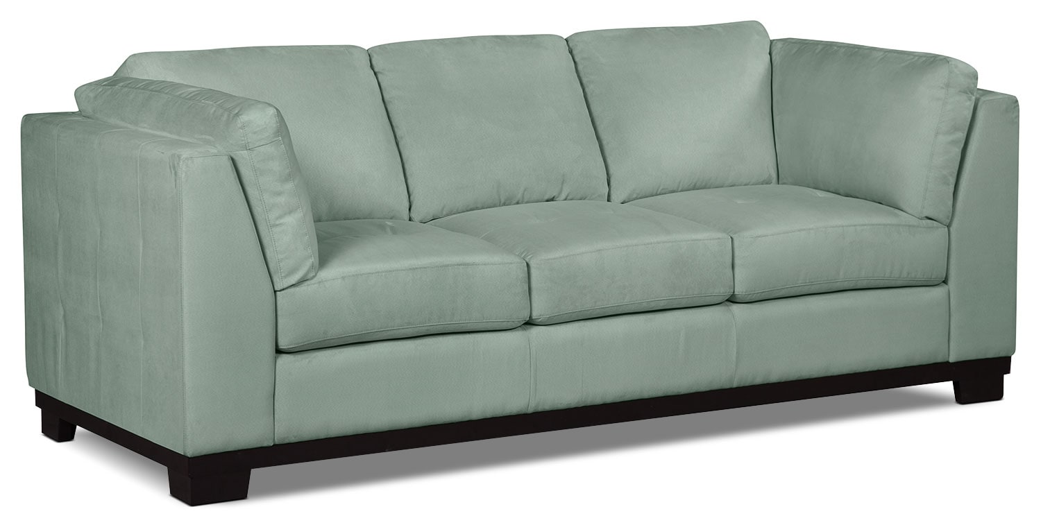 Oakdale microsuede sofa aqua the brick for Microsuede living room furniture