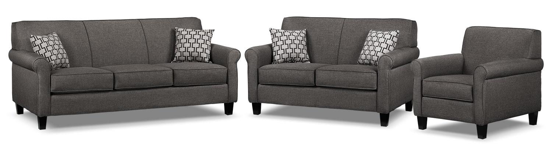 Ariel Sofa, Loveseat and Chair Set - Marmor