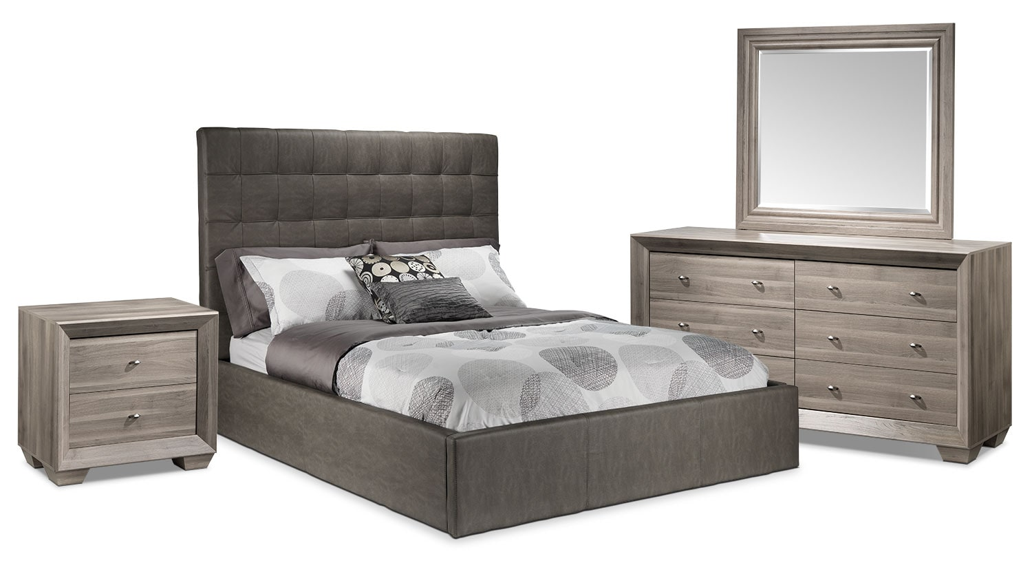 Bedroom Furniture - Franklin 5-Piece Queen Bedroom Set - Taupe