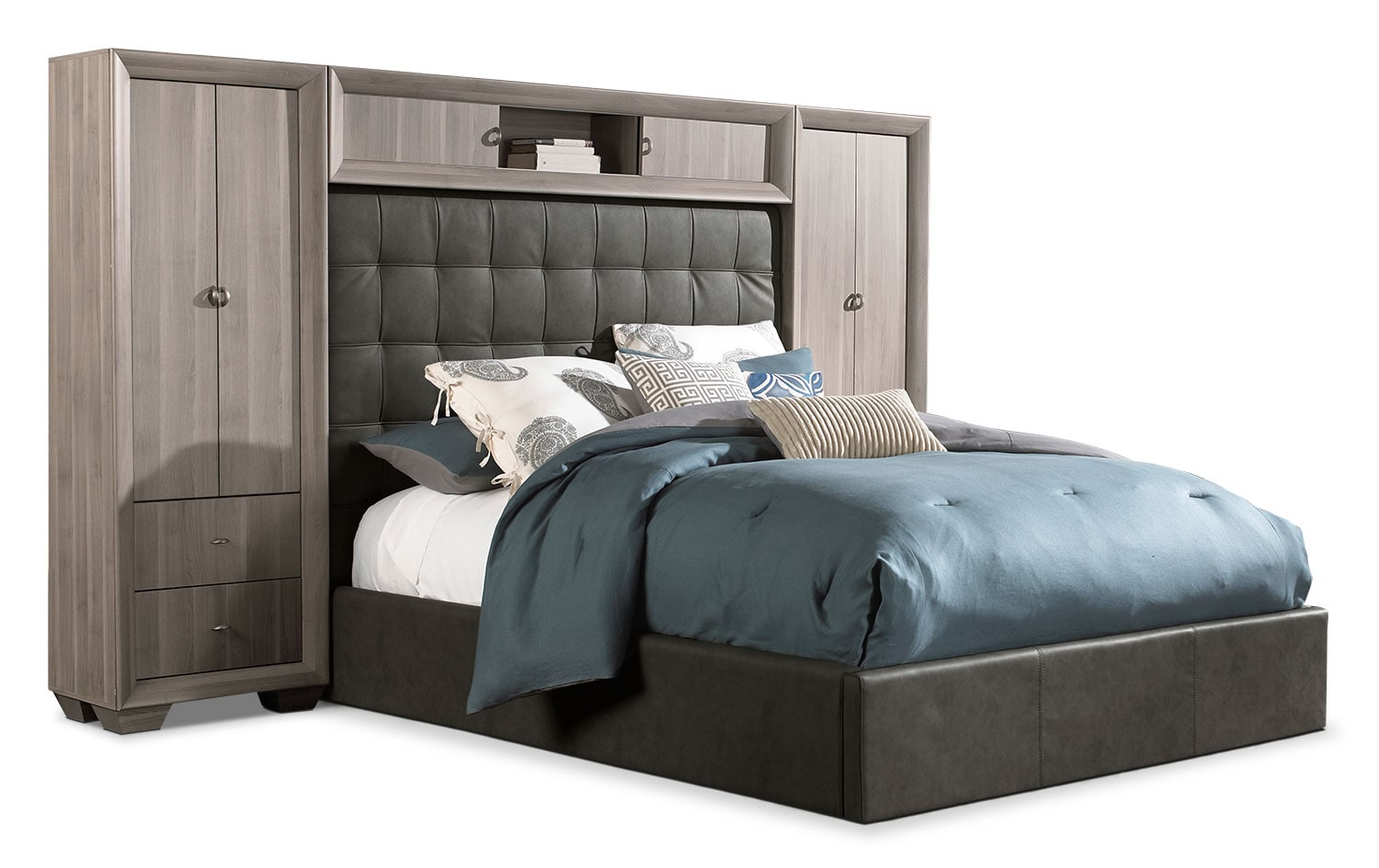 Bedroom Furniture - Franklin 5-Piece Queen Wallbed - Taupe