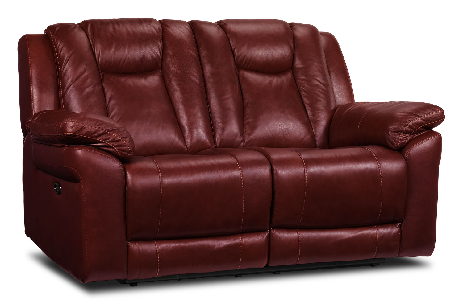Living Room Furniture - Plato Power Reclining Loveseat - Burgundy