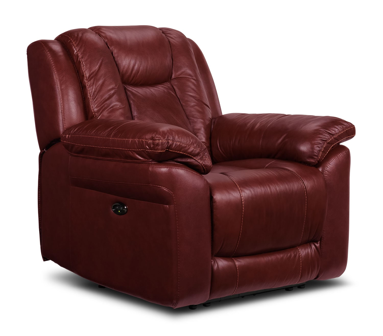 Living Room Furniture - Plato Power Recliner - Burgundy