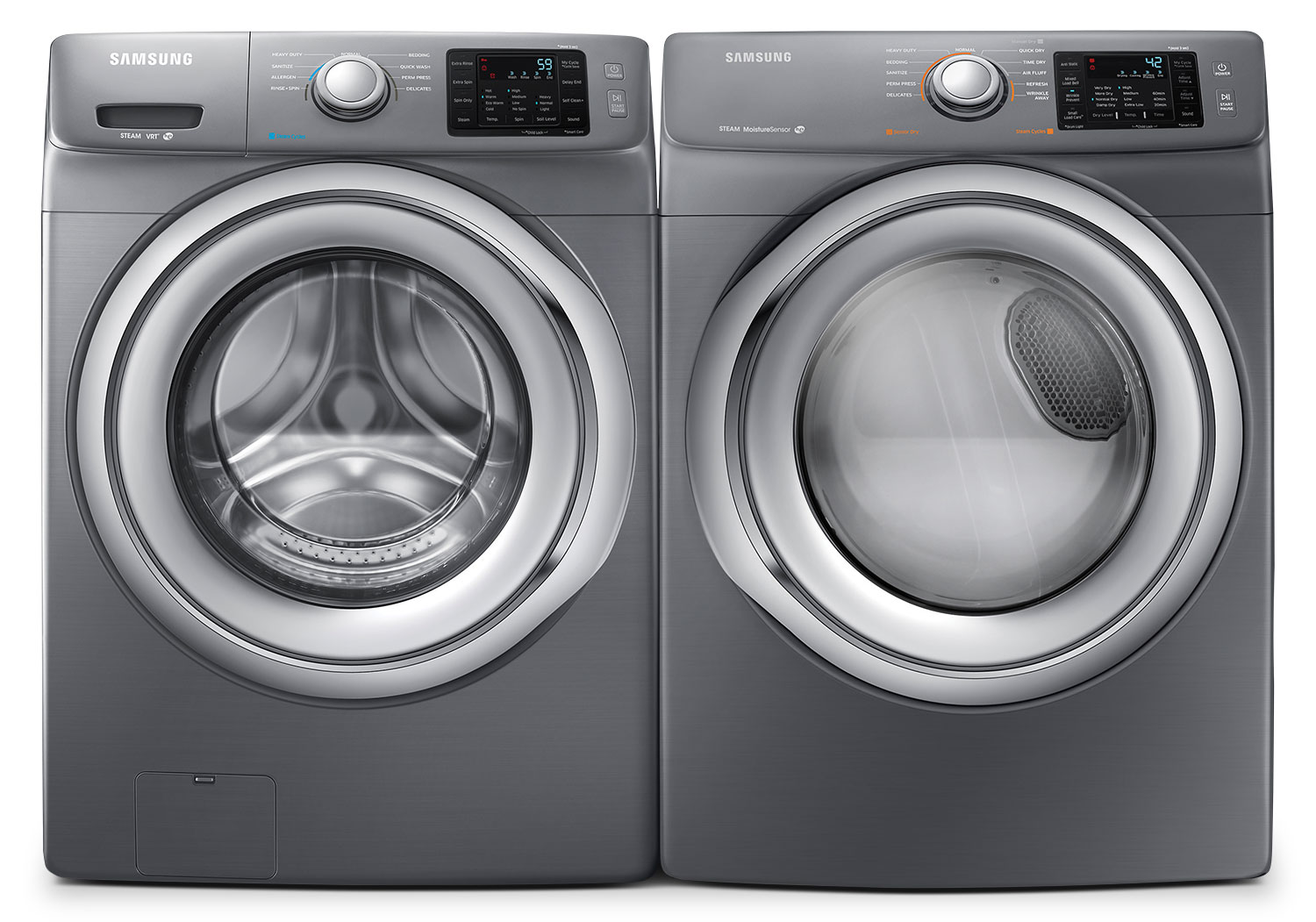 Samsung 4.8 Cu. Ft. Front-Load Washer and 7.5 Cu. Ft. Gas Dryer - Platinum