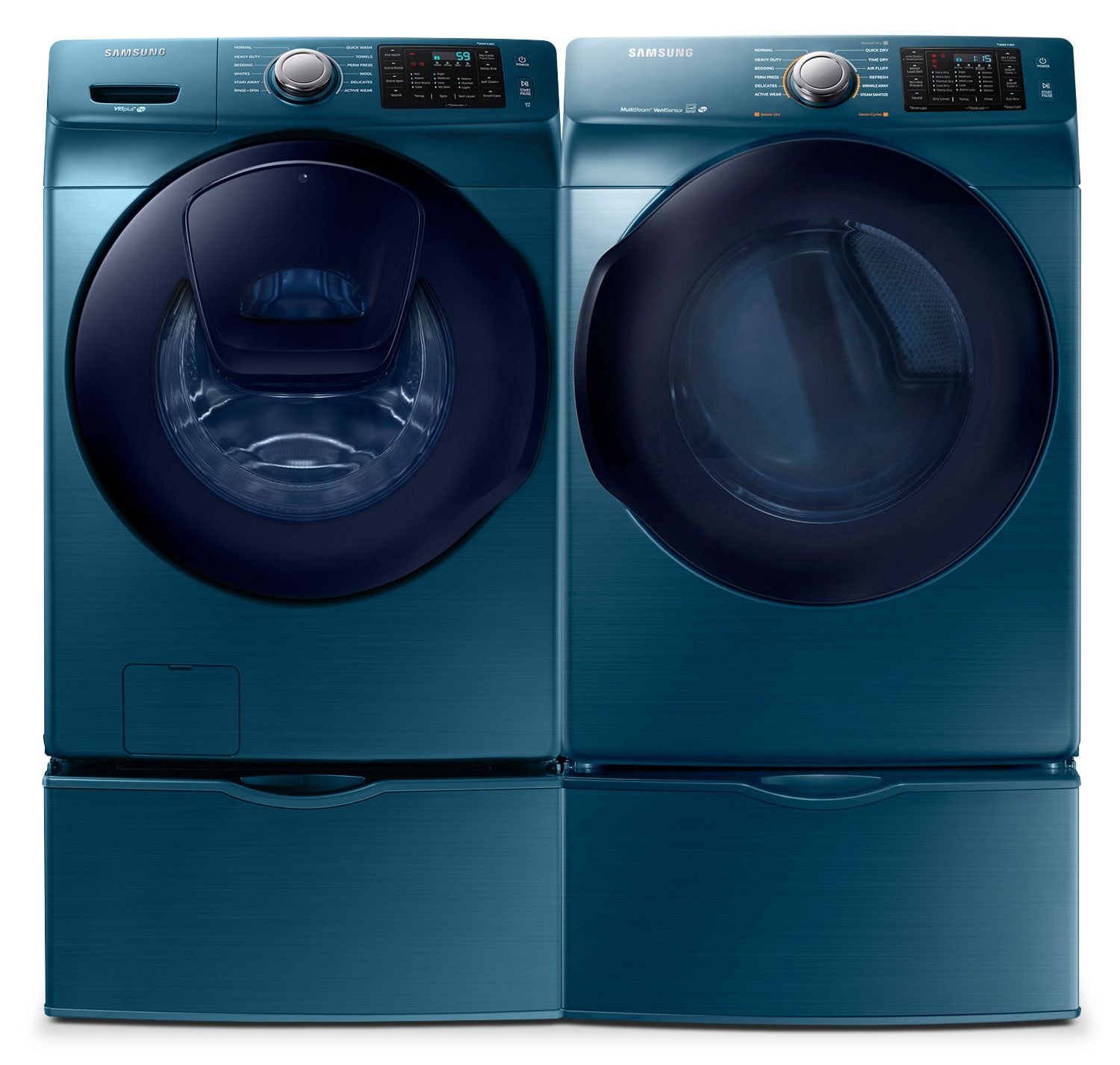 samsung 52 cu ft frontload washer and 75 cu ft electric dryer u2013 sapphire blue the brick