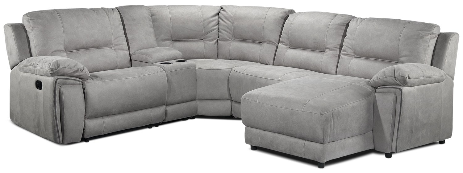 Living Room Furniture - Pasadena 5-Piece Right-Facing Reclining Sectional w/ Console - Light Grey
