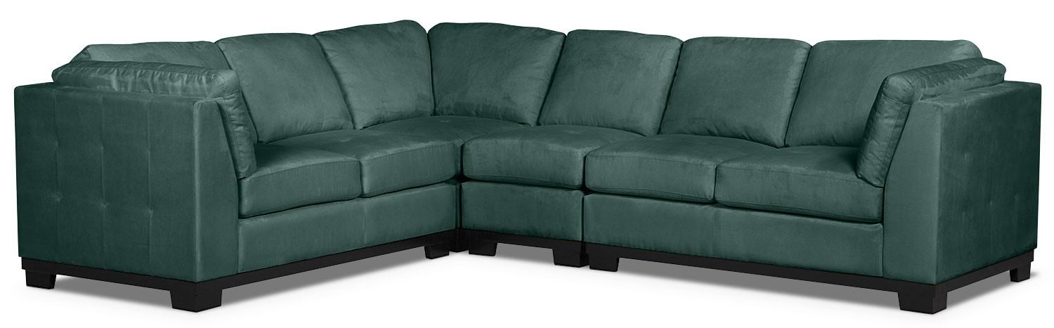 Living Room Furniture - Oakdale 4-Piece Microsuede Sectional – Azure