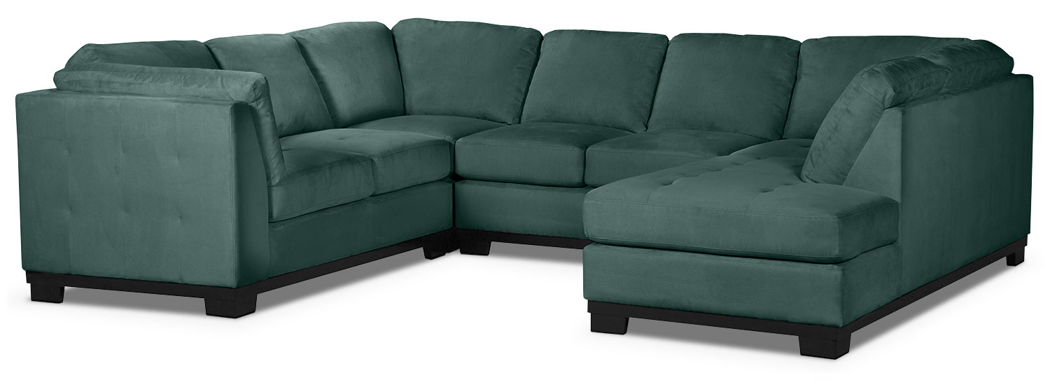 Living Room Furniture - Oakdale 4-Piece Microsuede Right-Facing Sectional – Azure