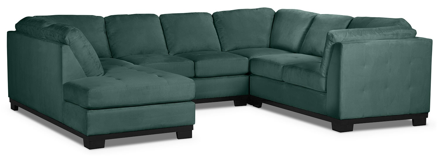 Living Room Furniture - Oakdale 4-Piece Microsuede Left-Facing Sectional – Azure