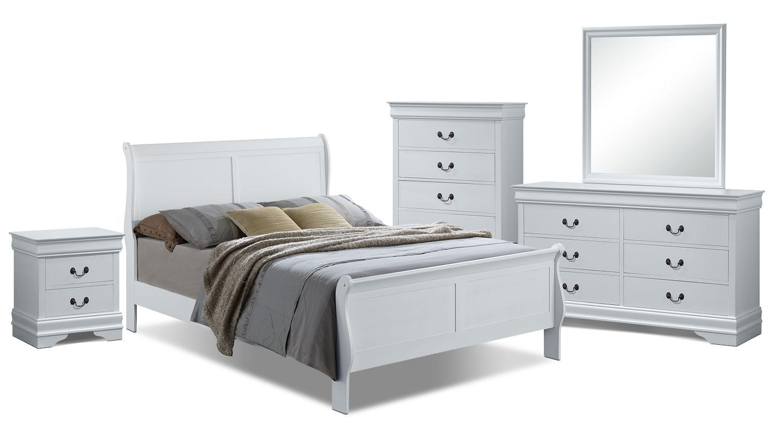 Bedroom Furniture - Belleview 7-Piece Queen Bedroom Package - White