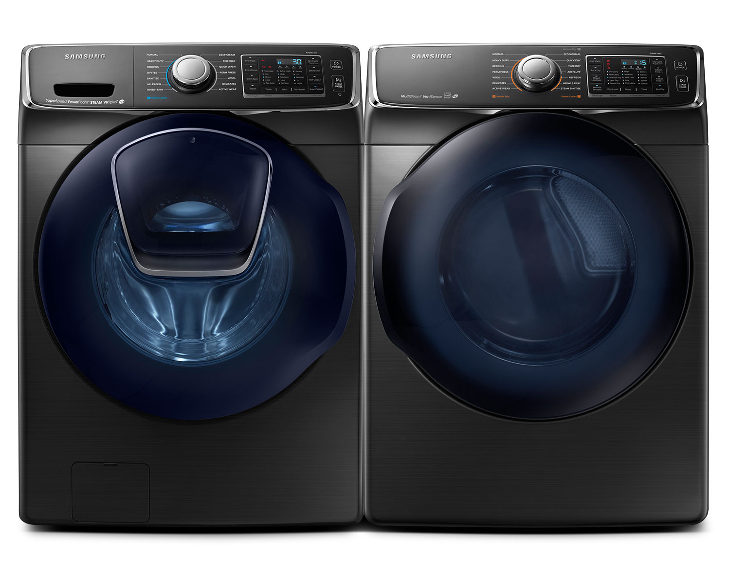 [Samsung Black Stainless Steel Front-Load Laundry Pair]