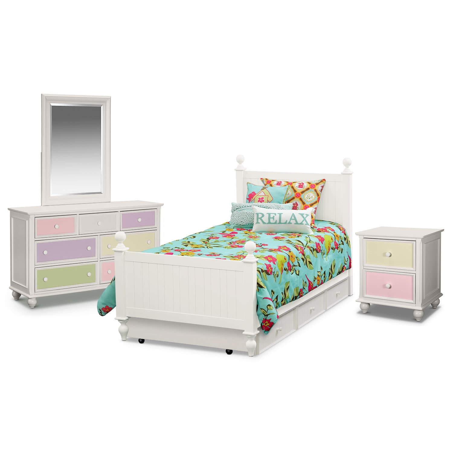 Colorworks 7 piece twin bedroom set with trundle white value city furniture White twin trundle bedroom set