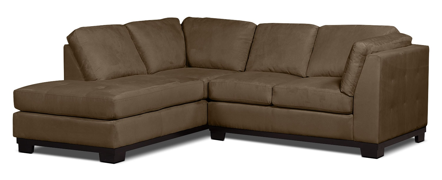 Oakdale 2-Piece Microsuede Left-Facing Sectional – Cocoa