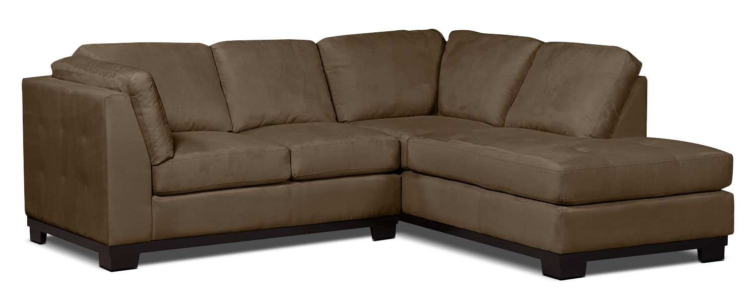 Living Room Furniture - Oakdale 2-Piece Microsuede Right-Facing Sectional – Cocoa