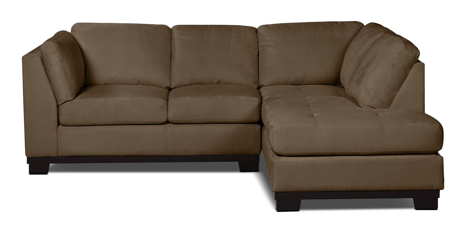 Oakdale 2 piece microsuede right facing sectional cocoa for Microsuede living room furniture