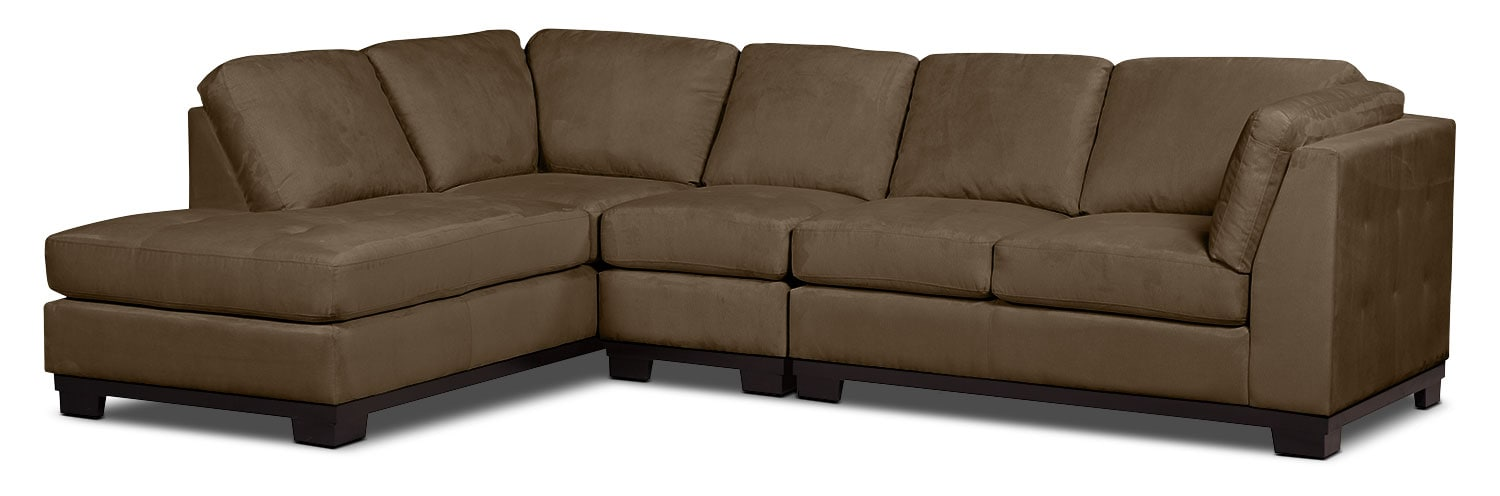 Living Room Furniture - Oakdale 3-Piece Microsuede Left-Facing Sectional – Cocoa