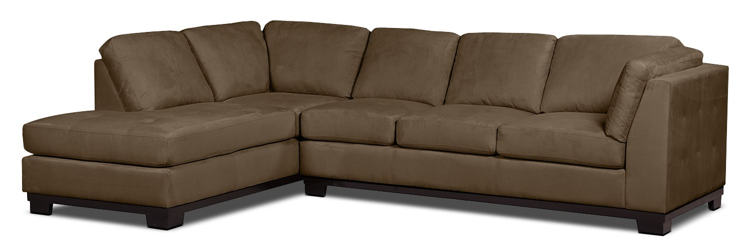 Oakdale 2-Piece Microsuede Left-Facing Sectional with Sofa Bed – Cocoa