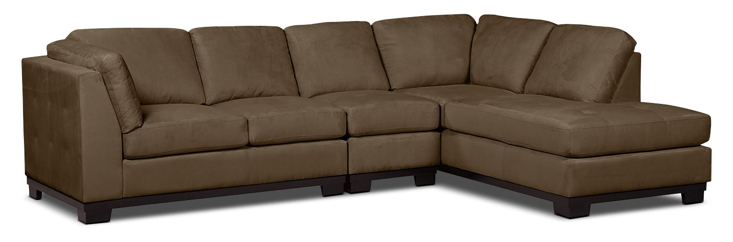 Living Room Furniture - Oakdale 3-Piece Microsuede Right-Facing Sectional – Cocoa