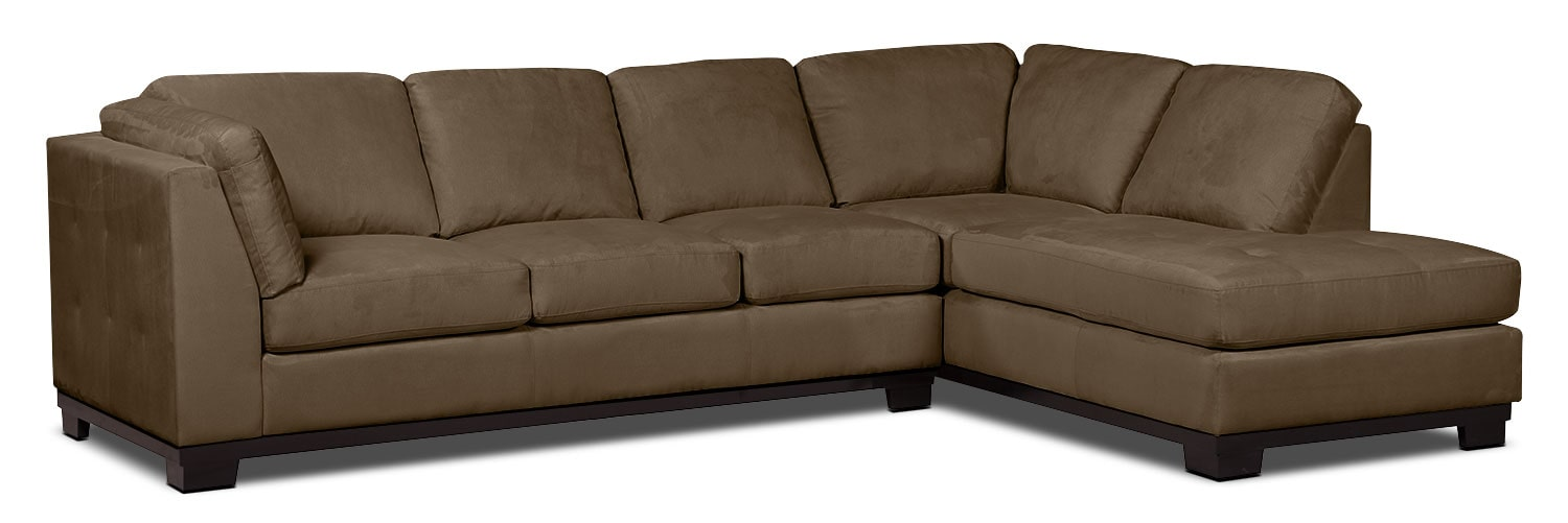Living Room Furniture - Oakdale 2-Piece Microsuede Right-Facing Sectional with Sofa Bed – Cocoa