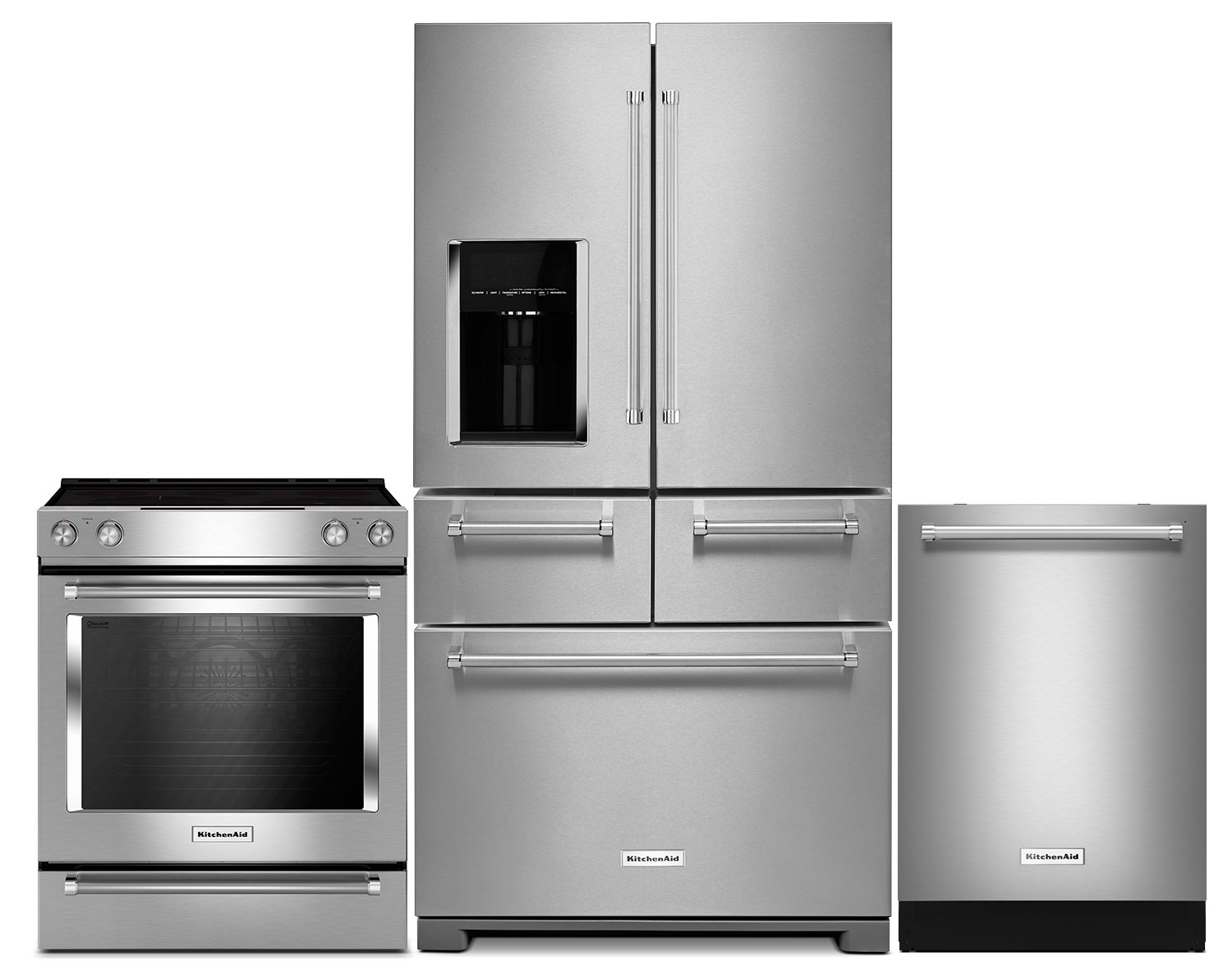 KitchenAid 25.8 Cu. Ft. 5-Door Refrigerator, 6.4 Cu. Ft. Range and Dishwasher – Stainless Steel