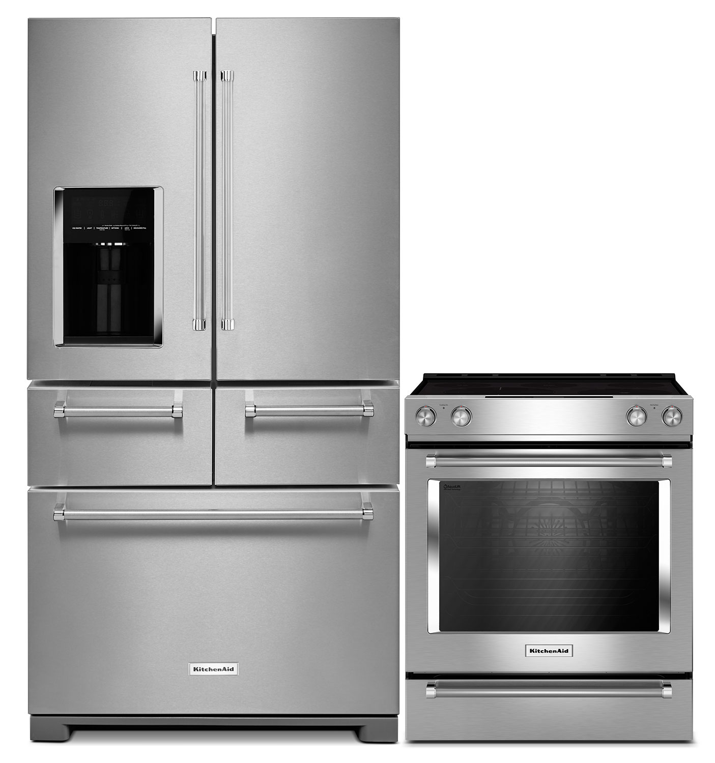 Refrigerators and Freezers - KitchenAid 25.8 Cu. Ft. 5-Door Refrigerator and 6.4 Cu. Ft. Electric Range – Stainless Steel