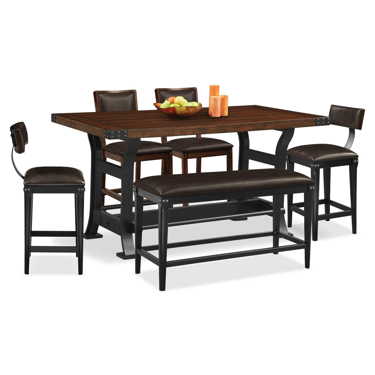 newcastle counter height table 2 chairs 2 stools and bench mahogany value city furniture. Black Bedroom Furniture Sets. Home Design Ideas