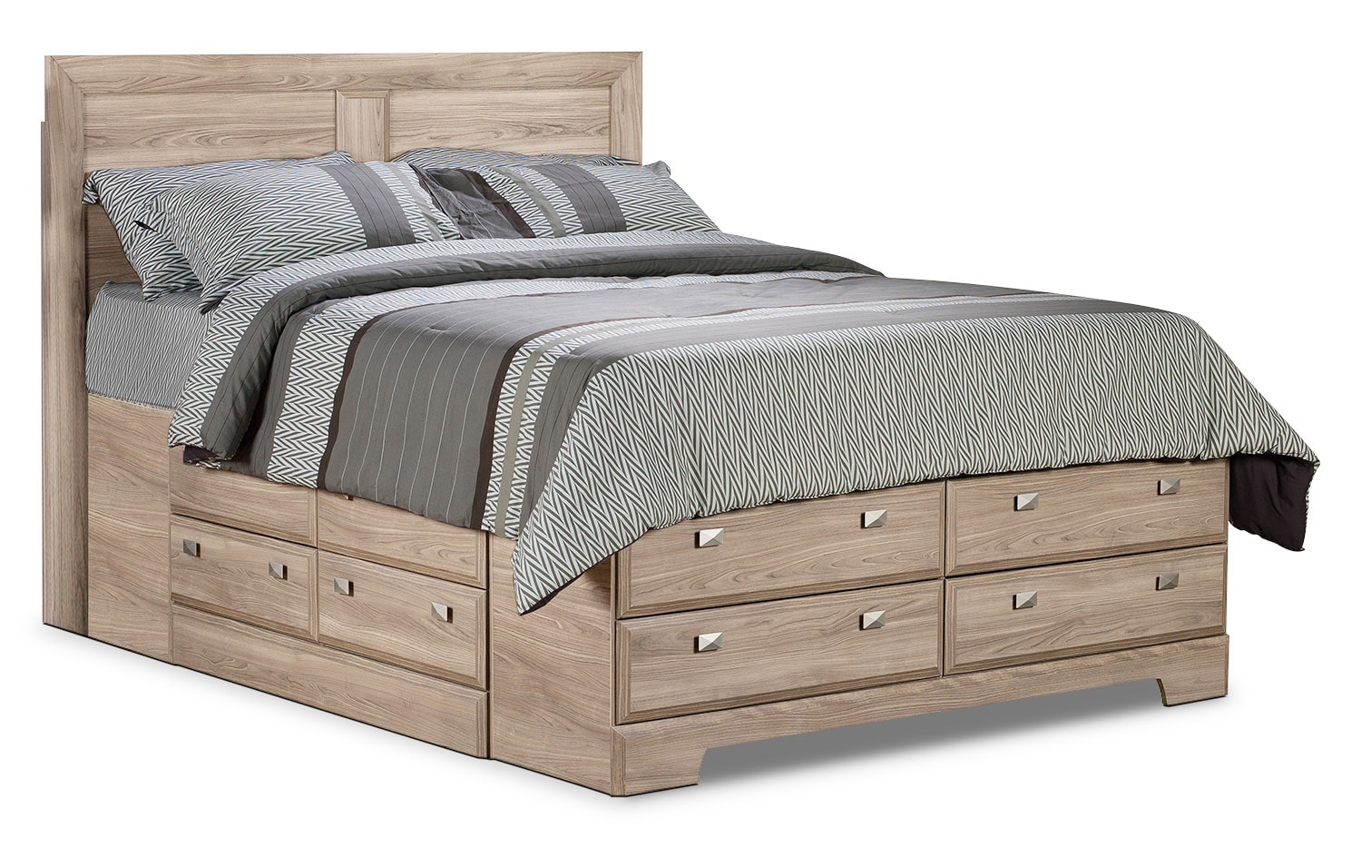 Yorkdale light queen storage bed the brick for Bedroom furniture queen storage bed