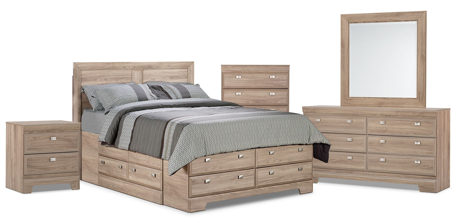 Bedroom Furniture - Yorkdale Light 7-Piece Full Storage Bedroom Package