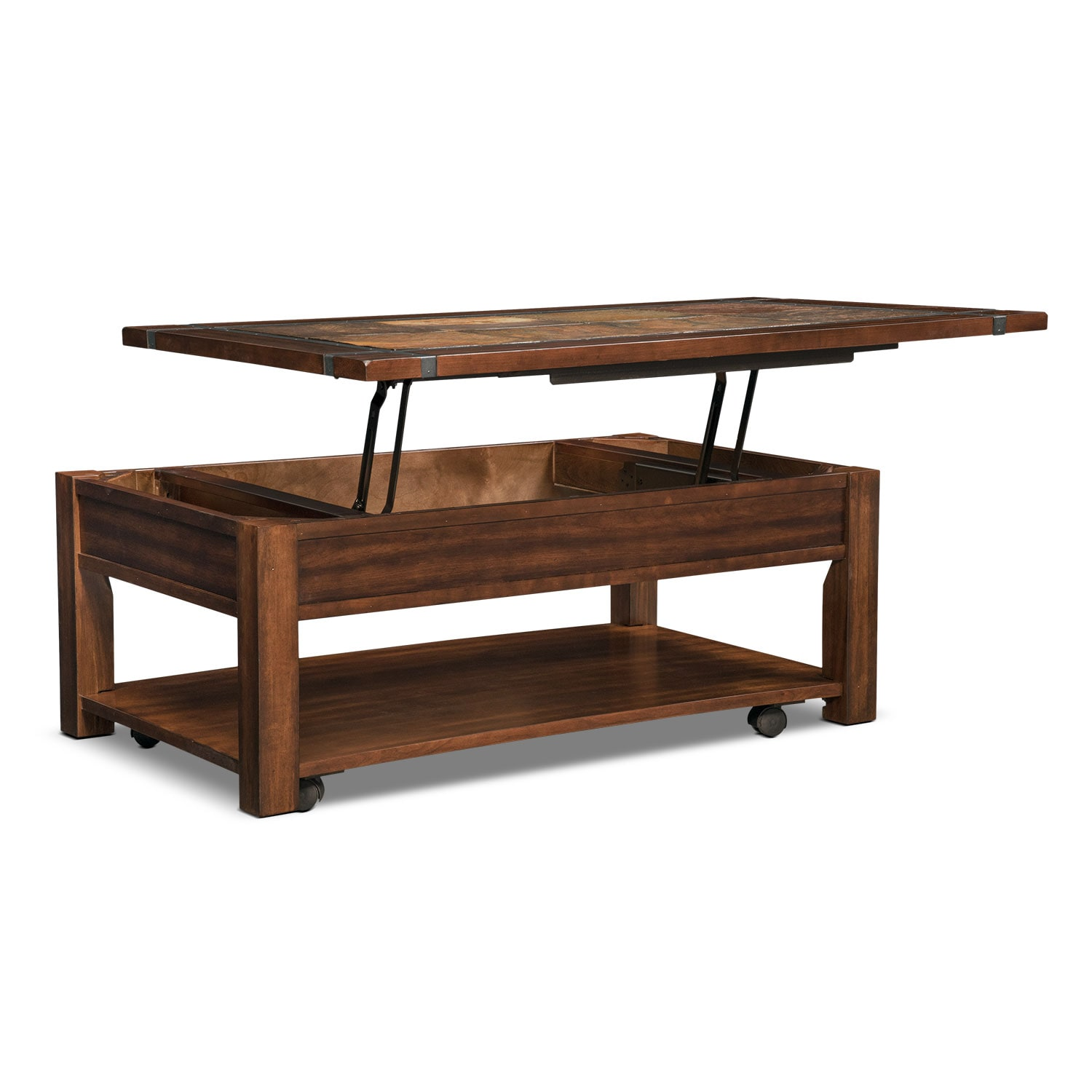 Slate ridge lift top cocktail table cherry value city furniture Coffee table cherry