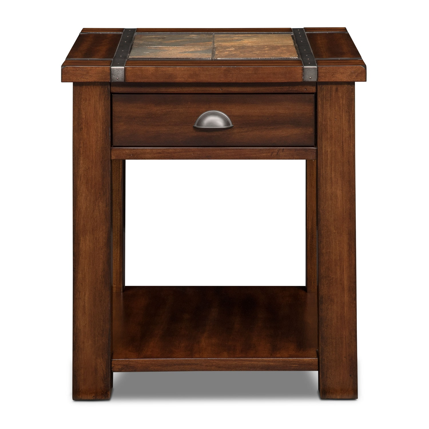 Slate Ridge End Table Cherry Value City Furniture