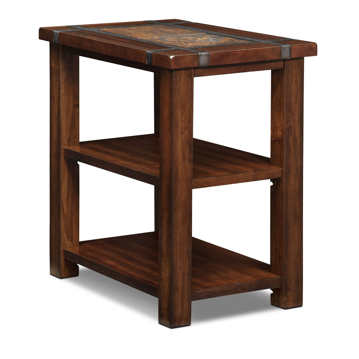 Slate ridge chairside table cherry value city furniture for Chairside table