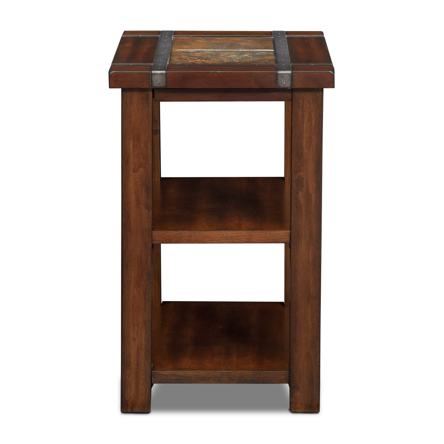 Slate ridge chairside table cherry value city furniture for Chair side tables living room