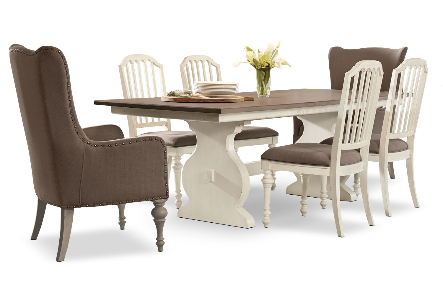 Dining Room Furniture - Hancock Park 7-Piece Dining Package with Arm Chairs