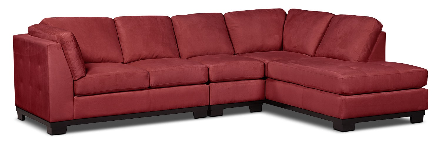 Living Room Furniture - Oakdale 3-Piece Microsuede Right-Facing Sectional – Red