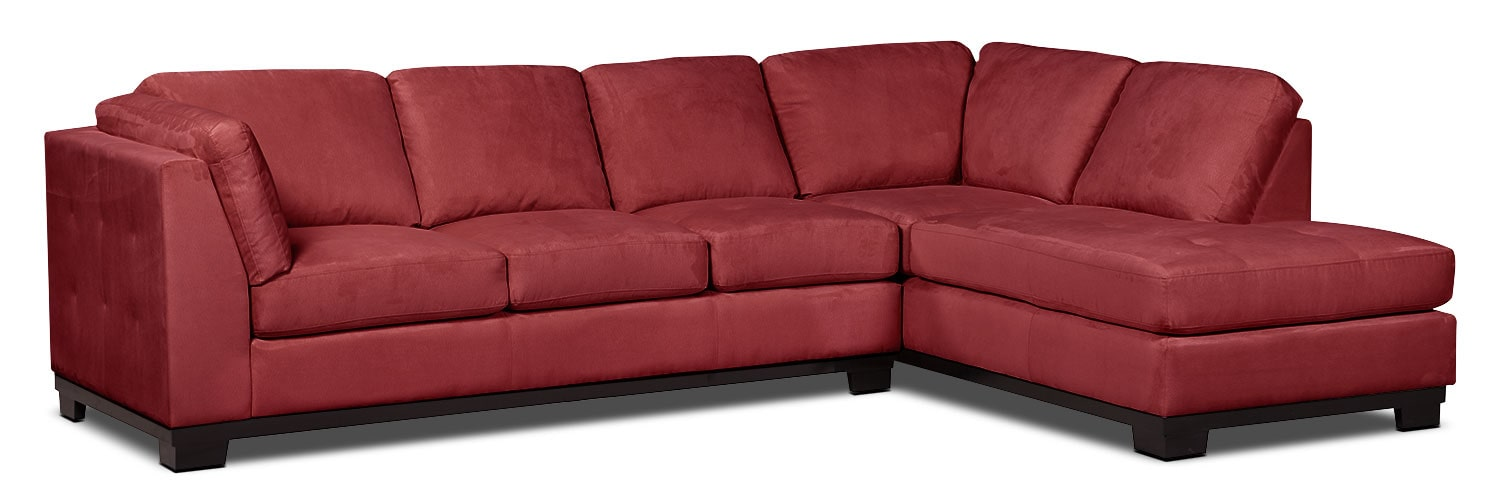 Oakdale 2 piece microsuede right facing sectional with for Brick red sectional sofa