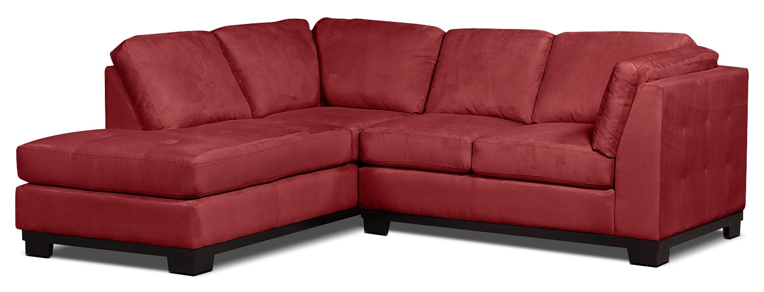 Living Room Furniture - Oakdale 2-Piece Microsuede Left-Facing Sectional – Red