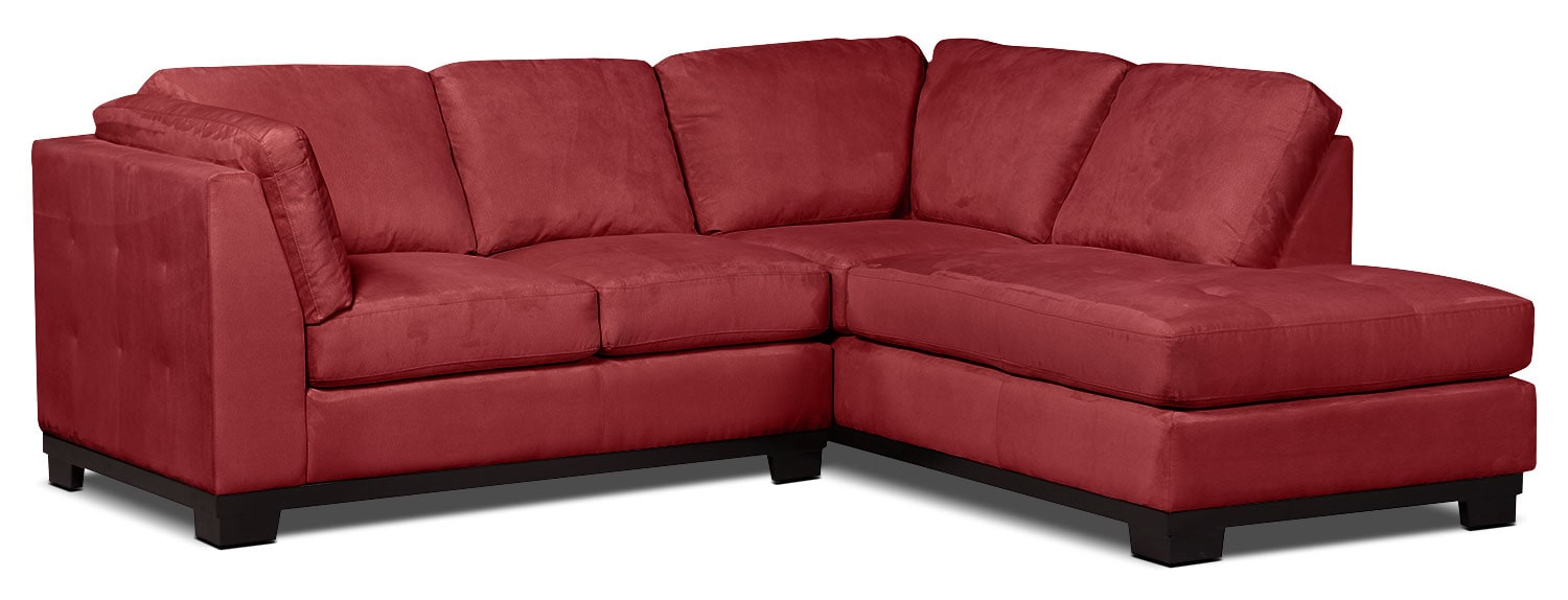 Living Room Furniture - Oakdale 2-Piece Microsuede Right-Facing Sectional – Red